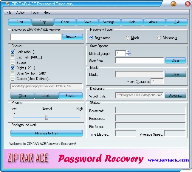 ZIP RAR ACE Password Recovery - Recover lost passwords on